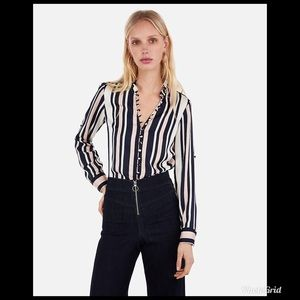 Express Slim Fit Striped  Portofino Shirt NWT
